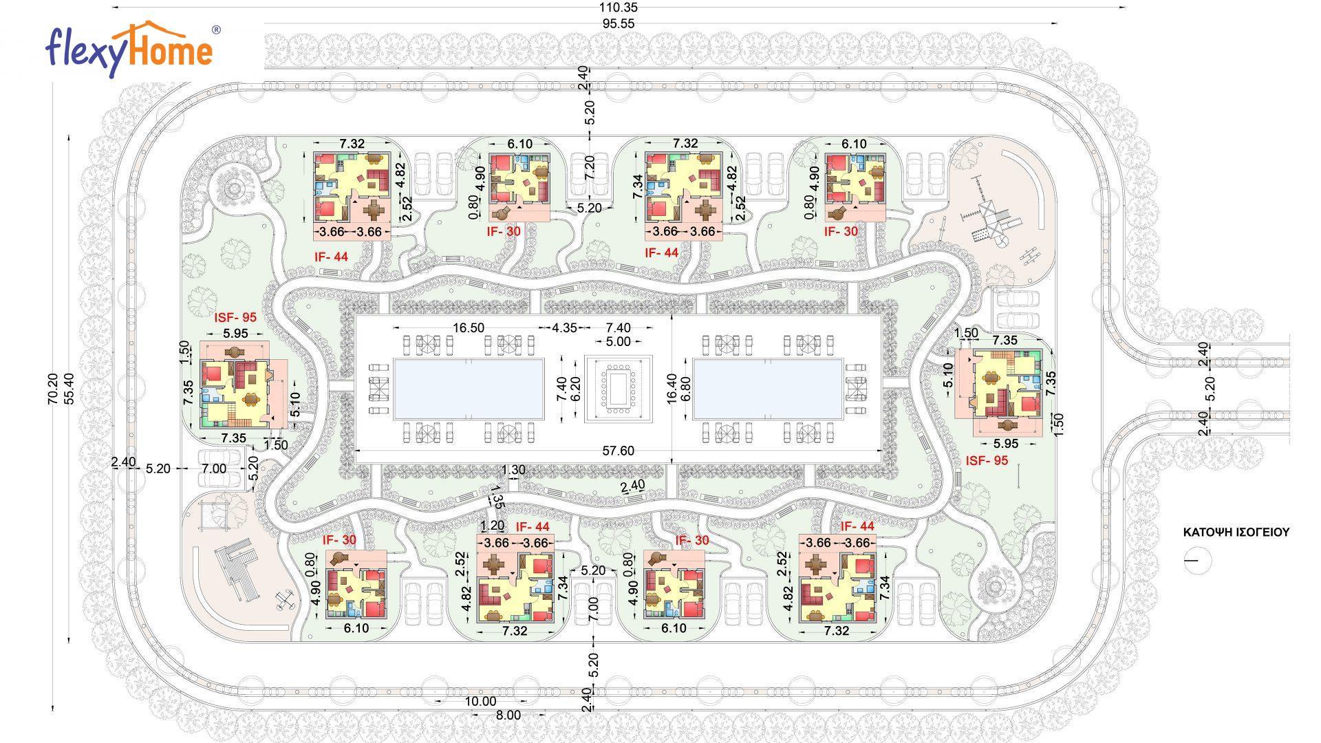 Συγκρότημα κατοικιών Flexyhome Ε-488 ,συνολικής επιφάνειας (4 Χ IF30 =120ΤΜ) + (4Χ IF44 =178τμ) + (2Χ ISF95=190τμ)= 488 τμ, συνολική επιφάνεια στεγασμένων χώρων 73 τμ.