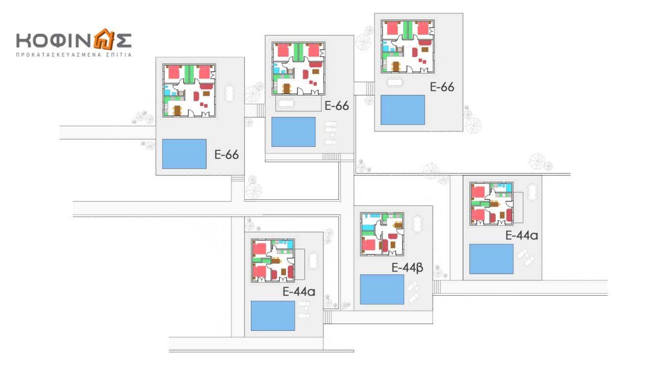 Συγκρότημα Κατοικιών E-44 / E-66, συνολικής επιφάνειας (3 x 44,22) + (3 x 66,42) = 331,92 τ.μ.3