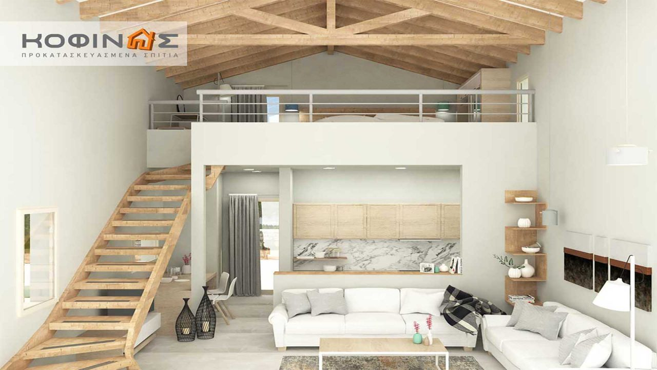 Complex of 1-story houses with attics E-57, total surface of 3 x 57,75 = 173,25 m², roofed areas 52.74 m²0
