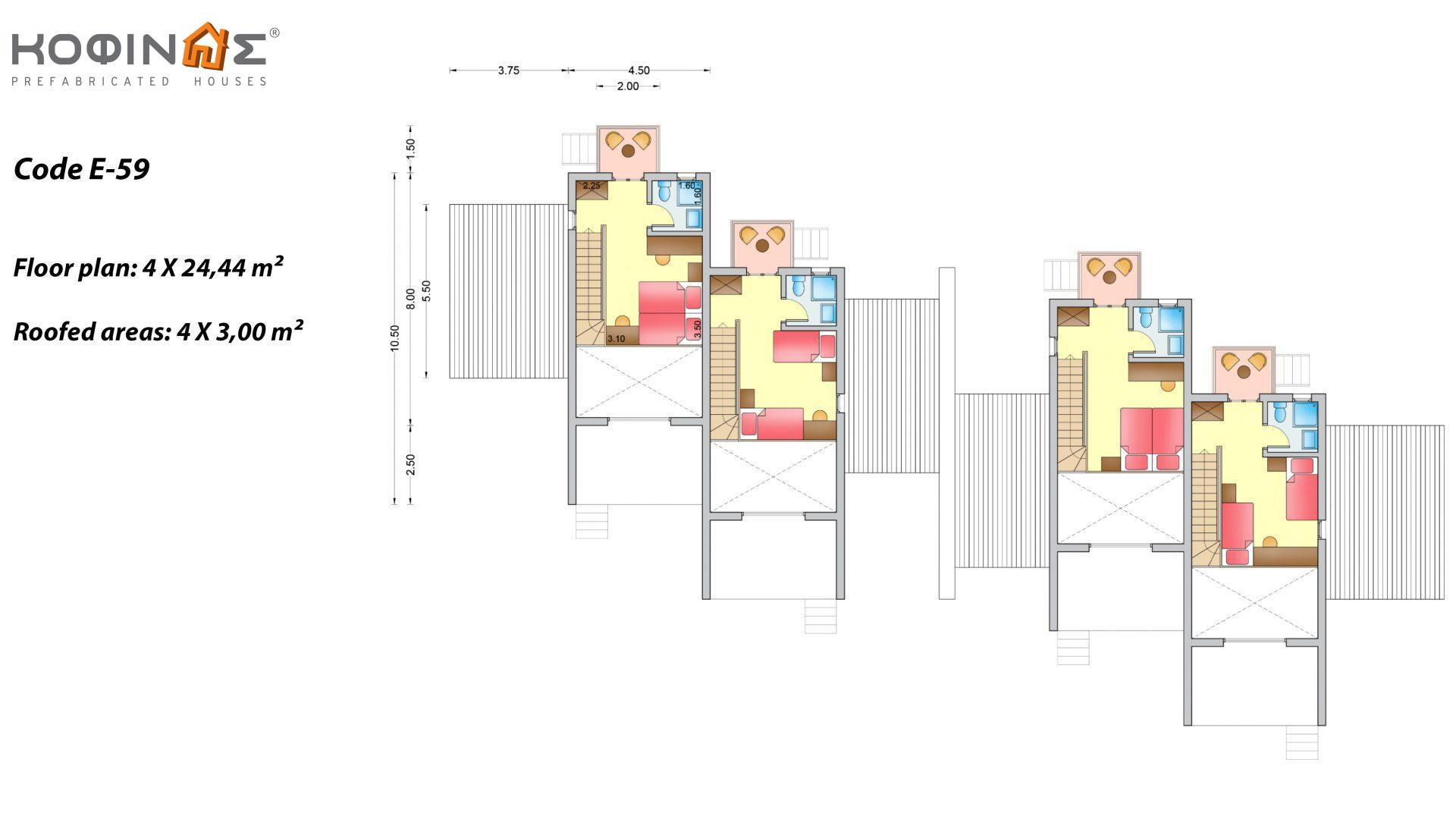 Complex of 2-story houses E-59, total surface of 4 x 59,82 = 239,28 τ.μ., roofed areas 67.76 m²