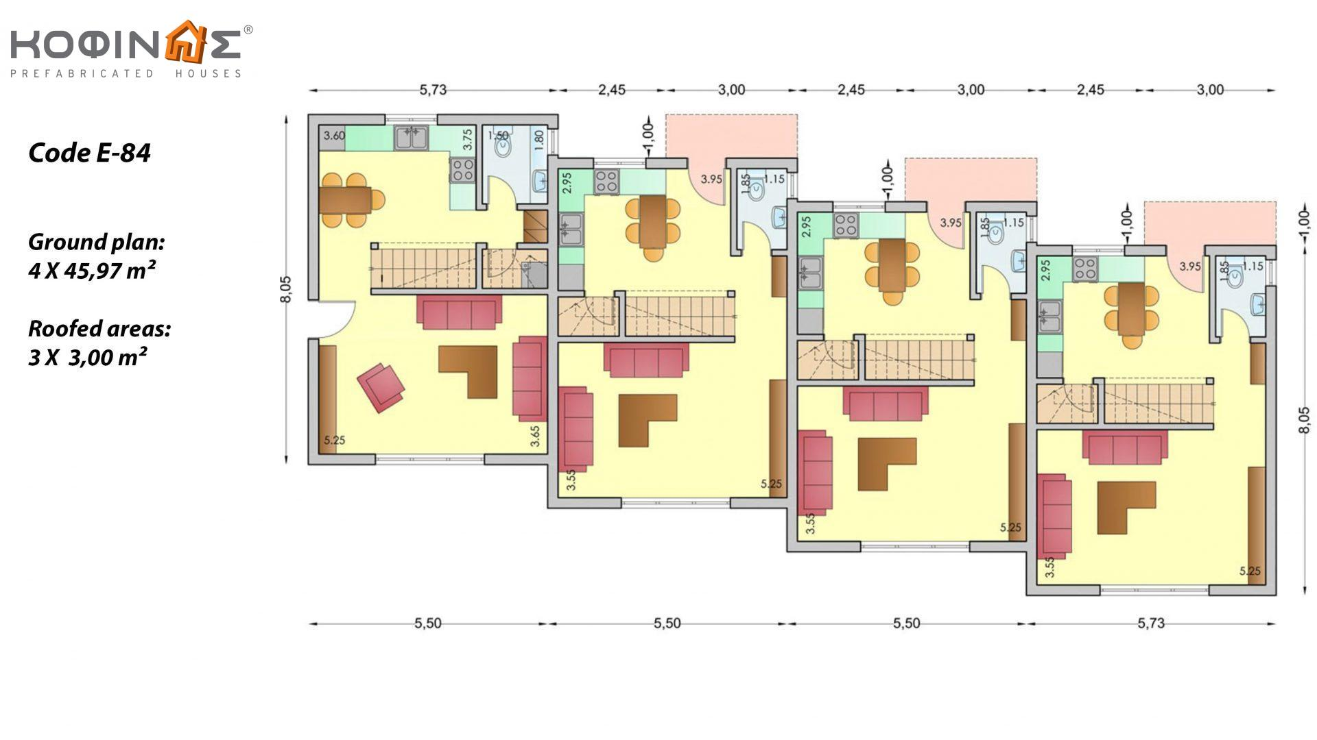 Complex 3-story houses E-84, total surface of 4 x 84,17 = 336,68 m²,roofed areas 43.36 m²