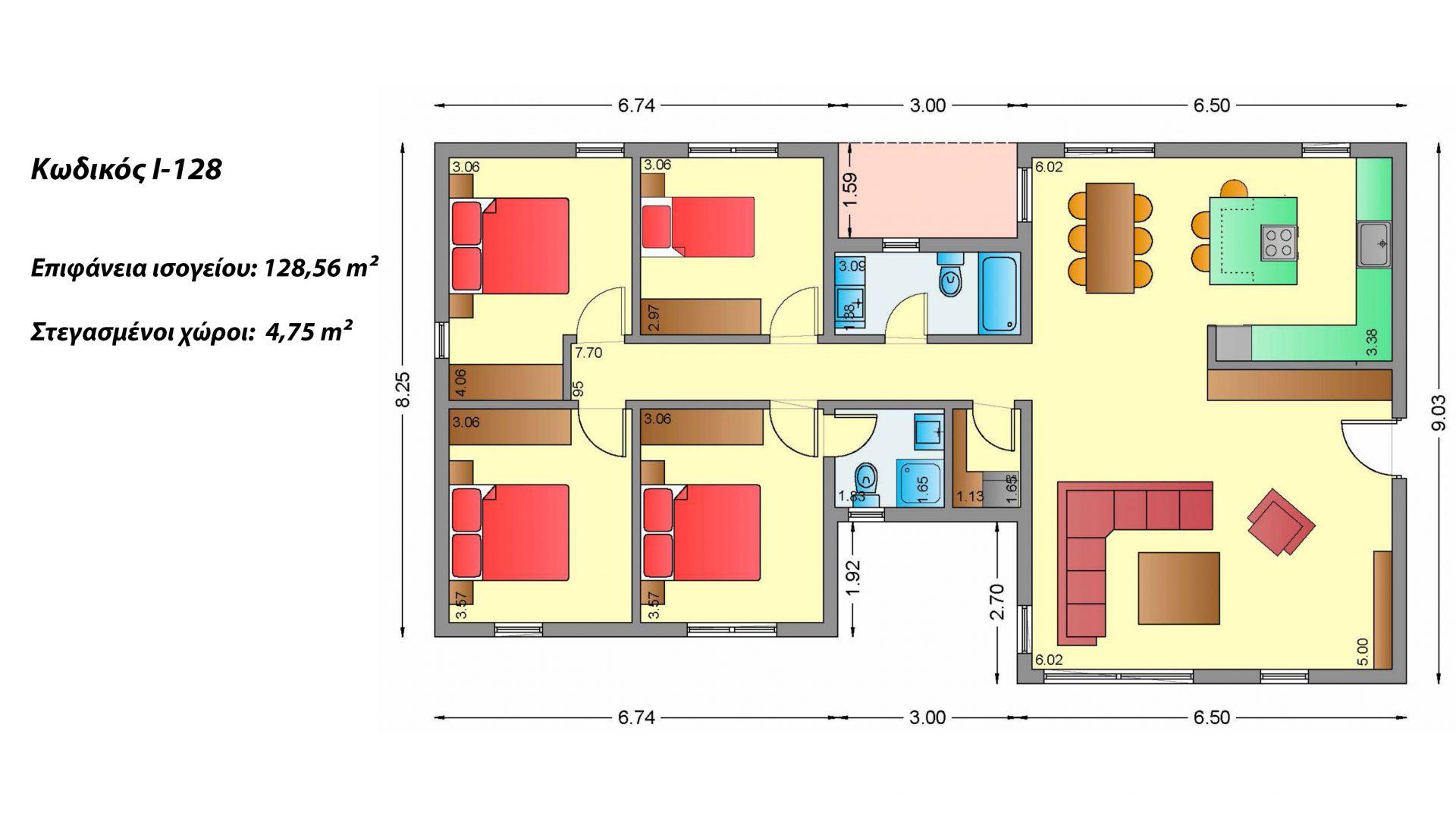Ισόγεια Κατοικία I-128, συνολικής επιφάνειας 128,56 τ.μ., στεγασμένοι χώροι 4,75 τ.μ.