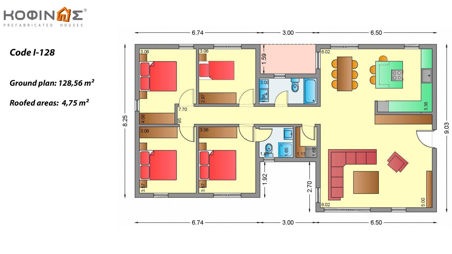 1-story house I-128, total surface of 128,56 m², roofed areas 4,75 m²