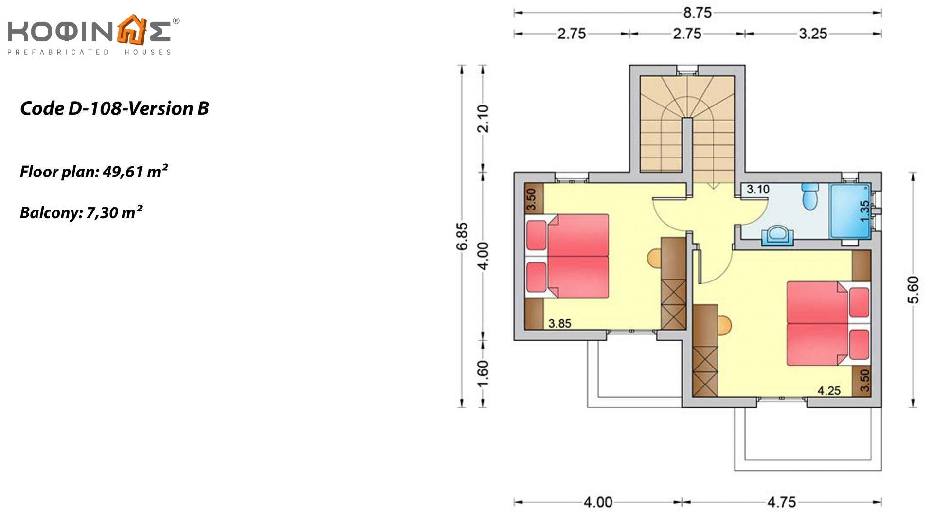 2-story house D-108, total surface of 108,07 m²,roofed areas 19.55 m²,balconies 7.30 m²