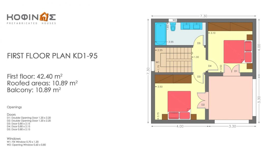 Two story house, KD1-95 (95,70 m²)