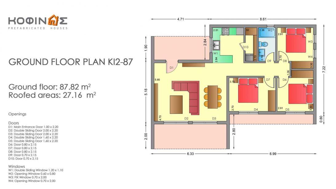 Single story house, KI2-87 (87,82 m²)