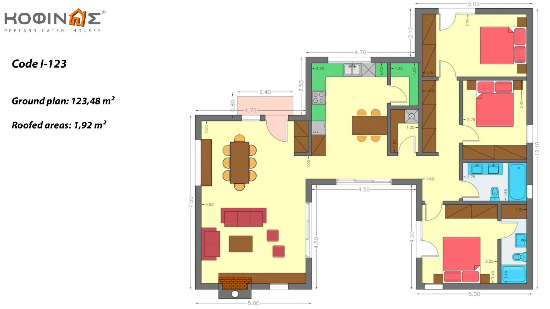 1-story house I-123, total surface of 123,48 m², roofed areas 1,92 m²