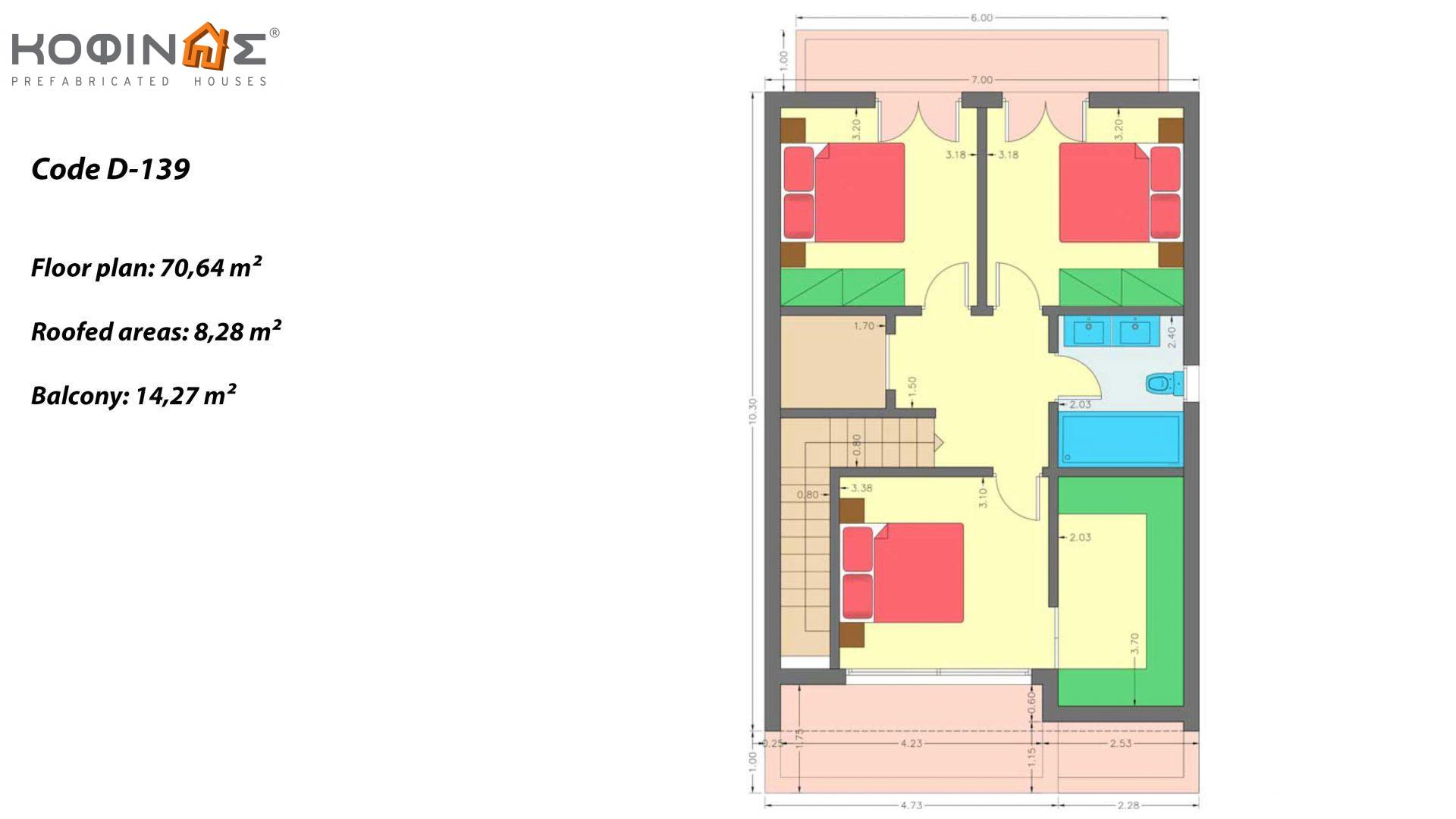 2-story house D-139, total surface of 139,00 m² ,roofed areas19.88 m²,balconies 14.27 m²