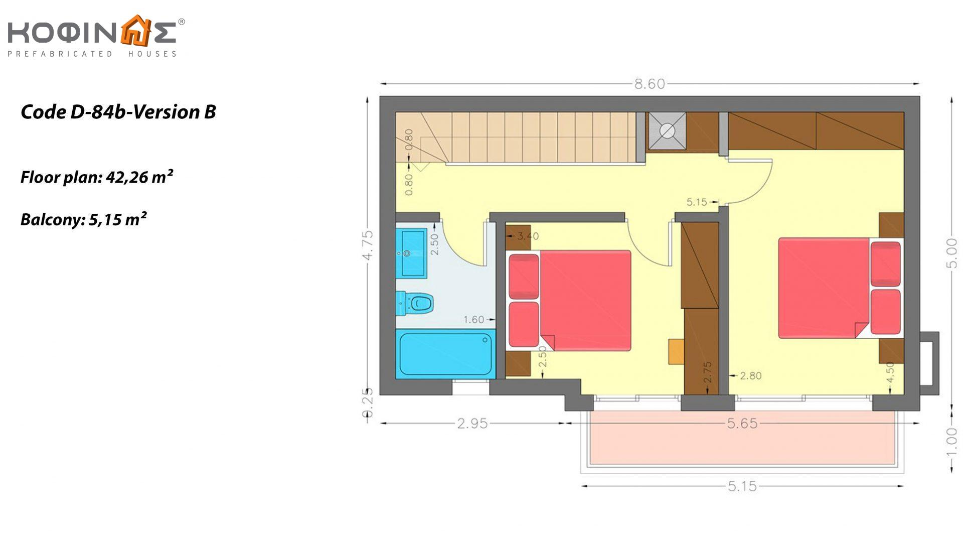 2-story house D-84b, total surface of 84,52 m²,roofed areas 5.15 m²,balconies 5.15 m²
