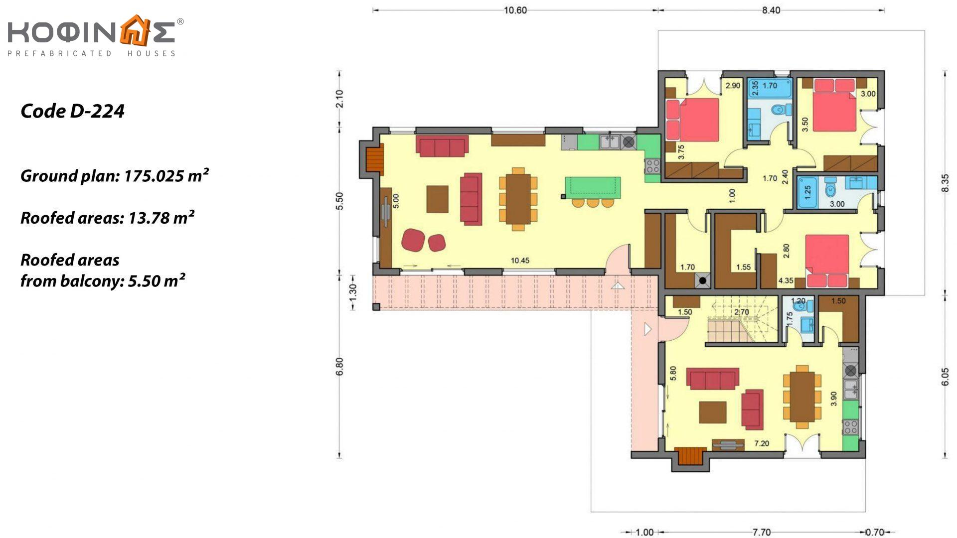 Complex of 2-story houses D-224, total surface of 224,68 m² ,roofed areas 24.88 m²,balconies 75.44 m²