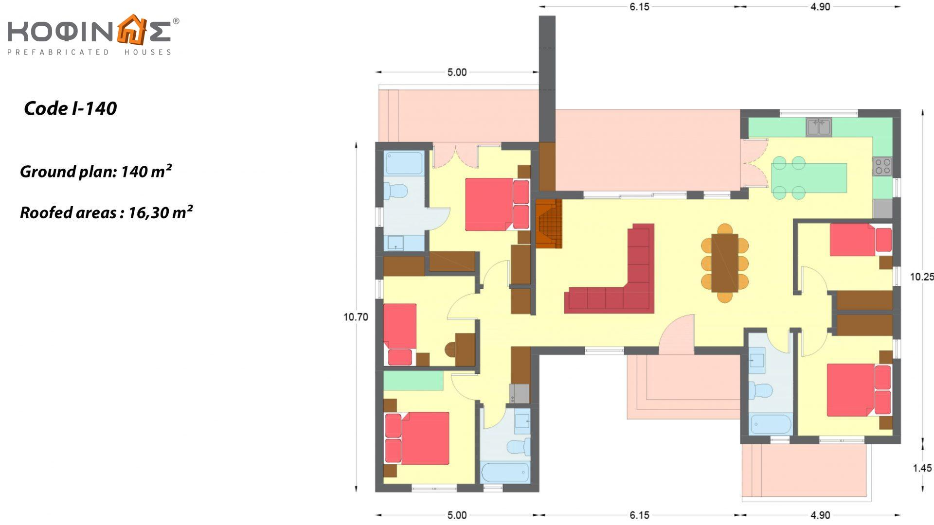 1-story house Ι-140, total surface of 140 m², roofed areas 16,30 m²