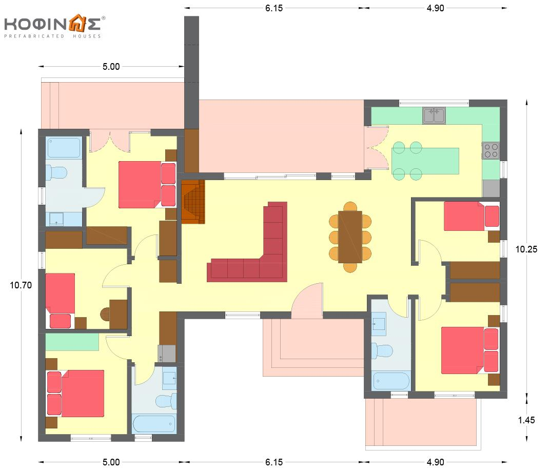 1-story house I-140, total surface of 140 m²