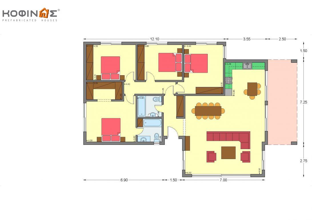 1-story house I-150A, total surface of 154,20 m²