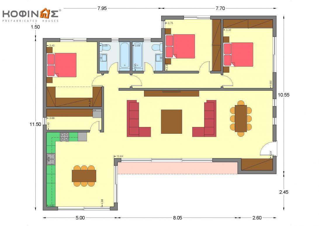 1-story house I-162, total surface of 162,10 m²