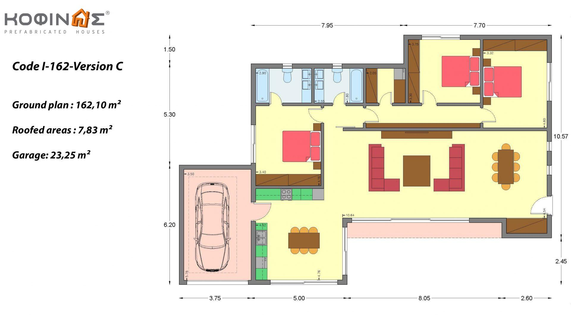 1-story house I-162, total surface of 162,10 m², roofed areas 7,83 m²
