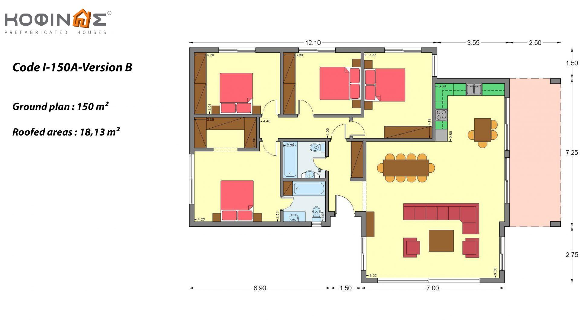 1-story house Ι-150Α, total surface of 150 m², roofed areas 18,13 m²