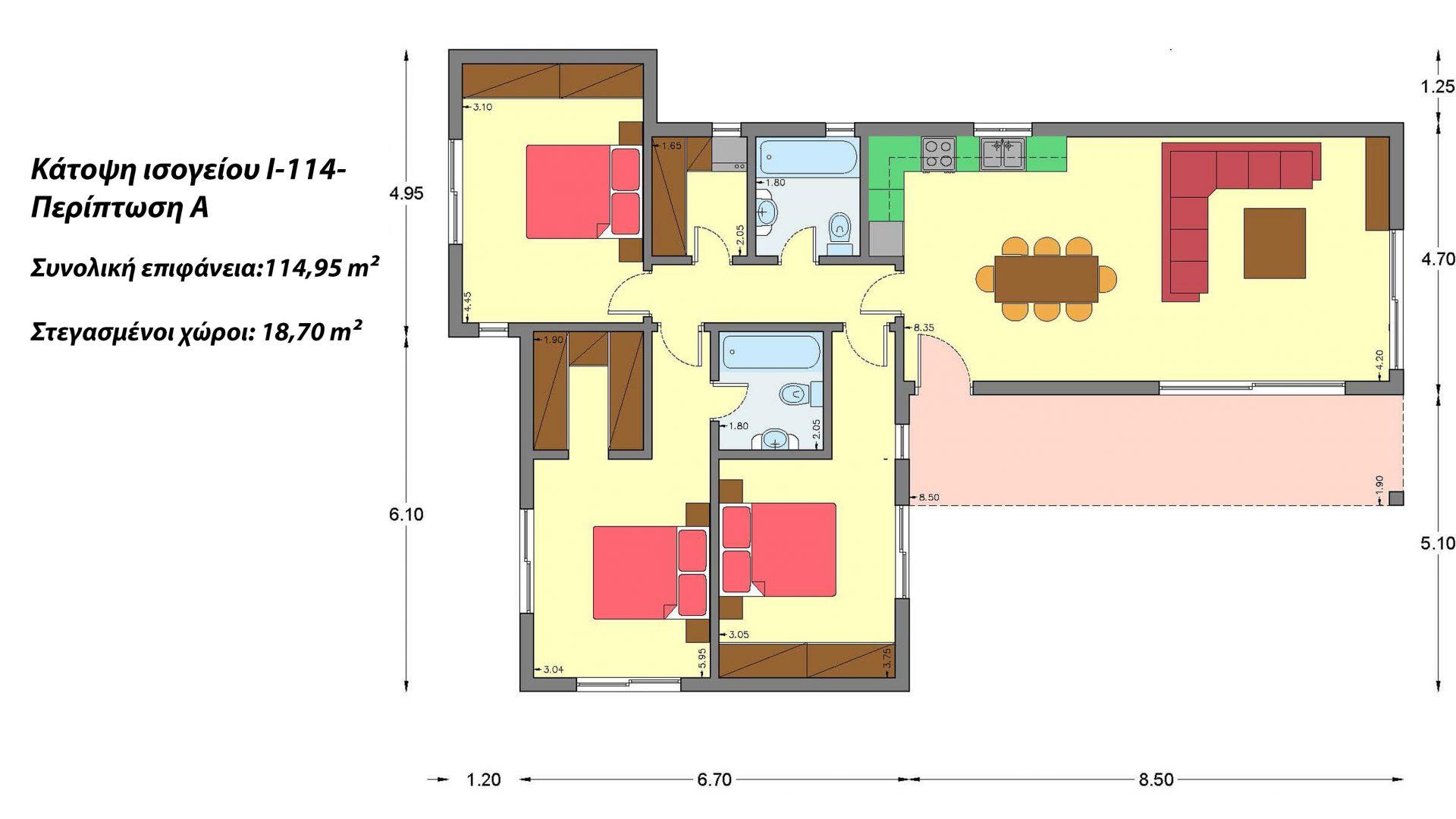 Ισόγεια Κατοικία I-114, συνολικής επιφάνειας 114,95 τ.μ.