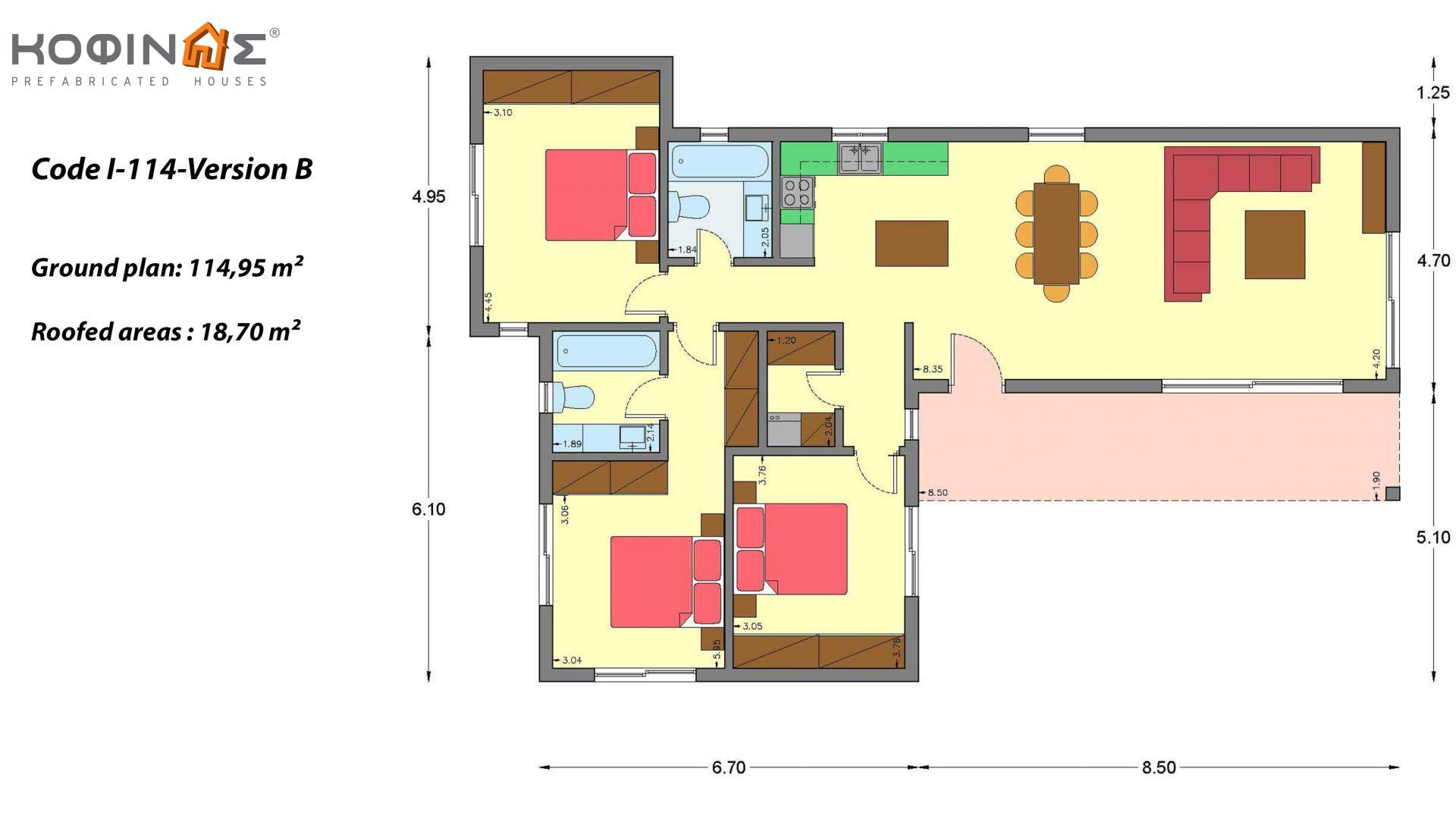 1-story house I-114, total surface of 114,95 m², roofed areas 18,70 m²