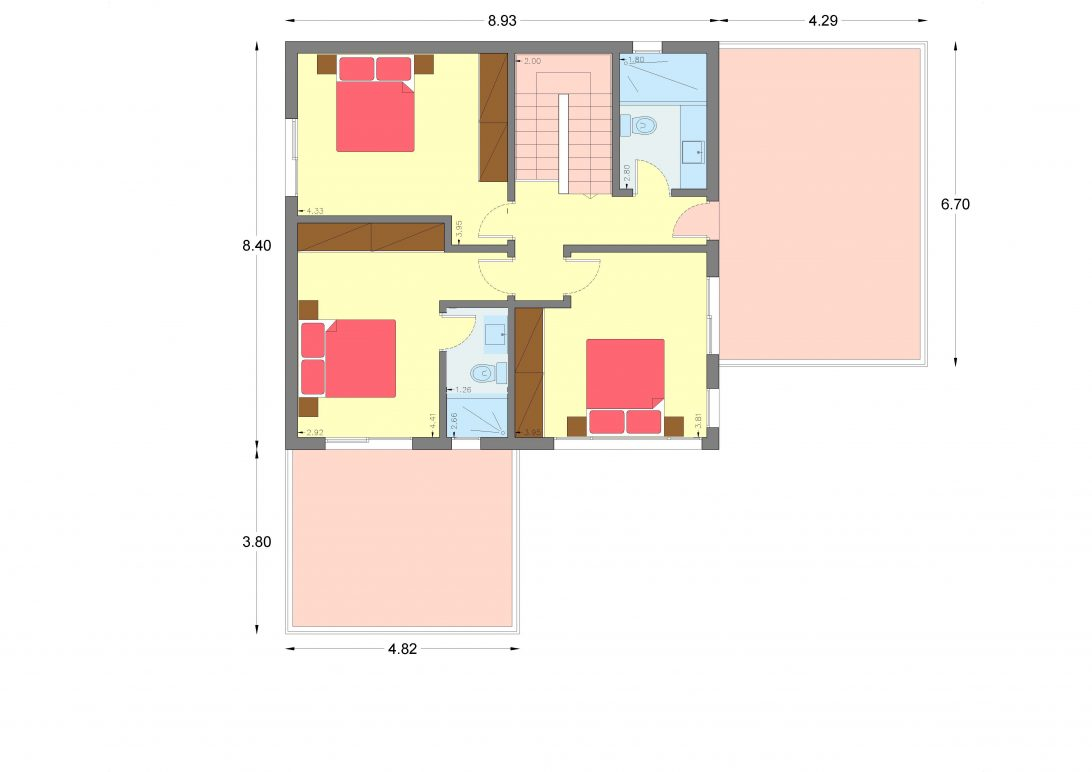 Two-story house D-161, with a total area of 161.27 sq.m.