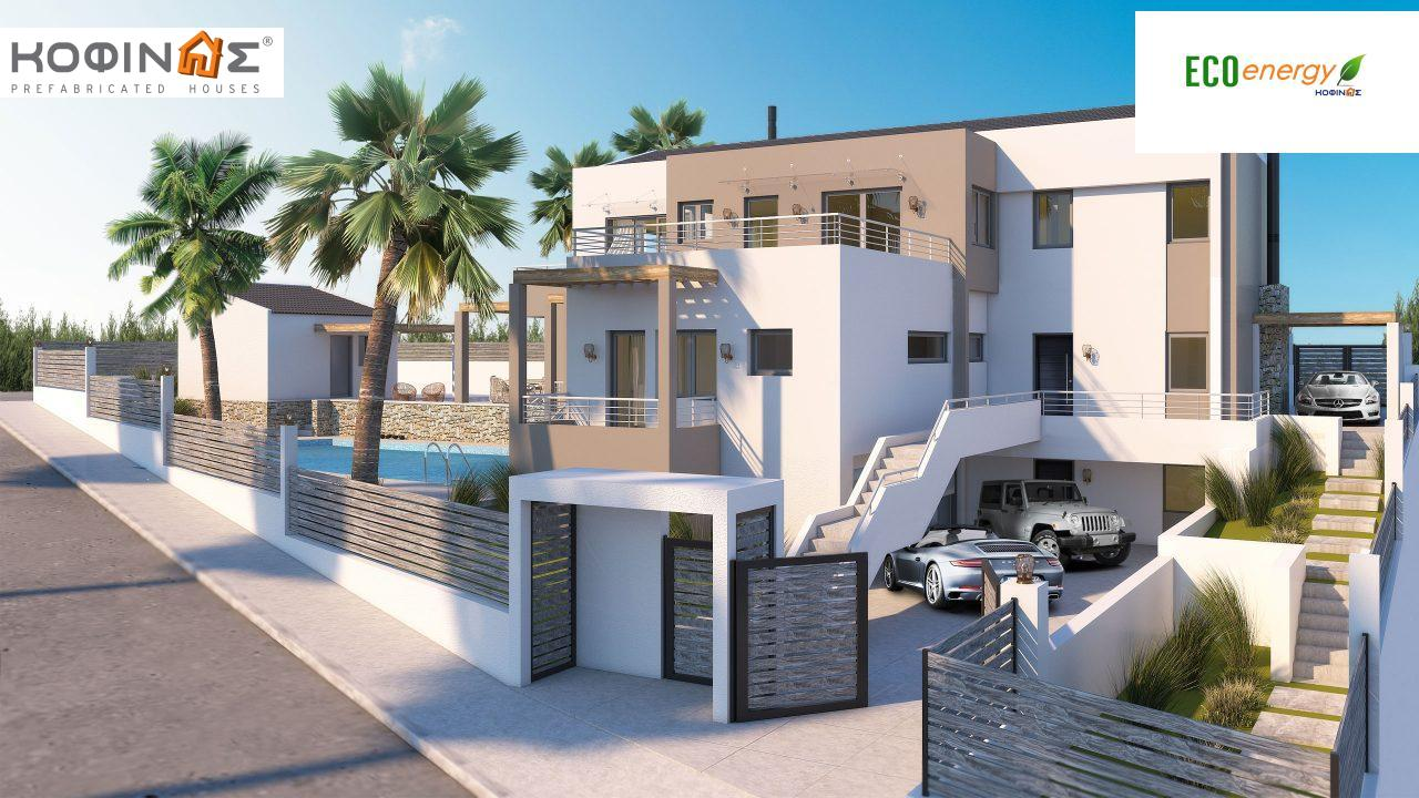 Two-story house D-402, with a total area of 402,45 sq.m. ,roofed areas 104,91 m²,balconies 49.96 m²0