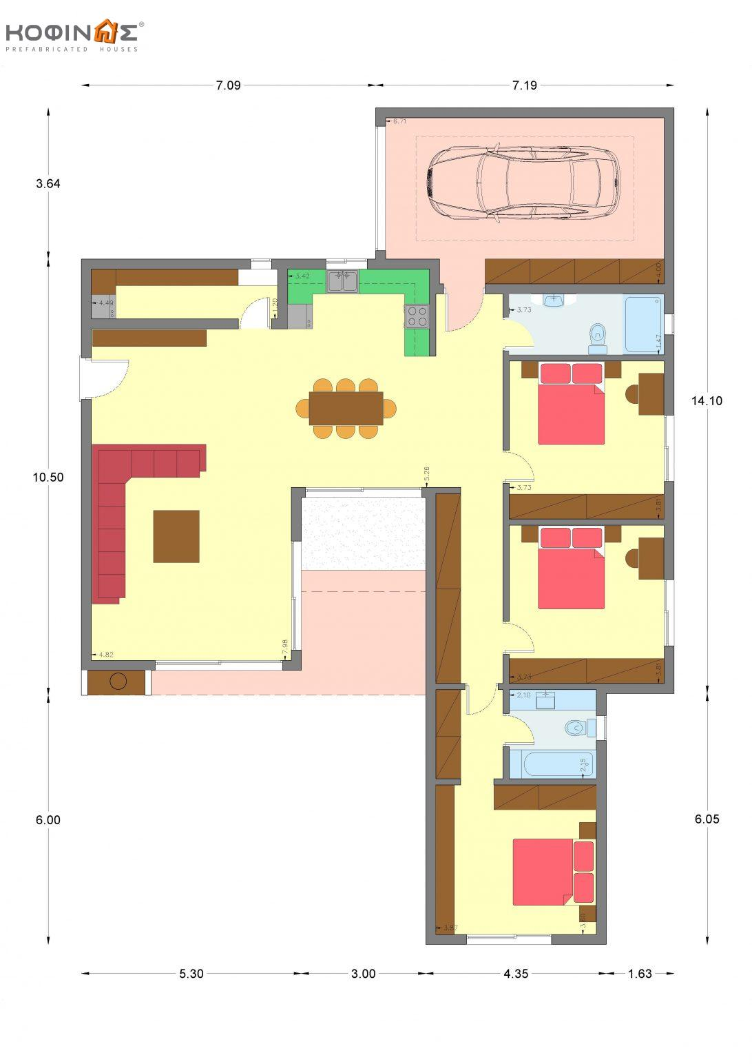 1-story house I-154a, total surface of 154,20 m²