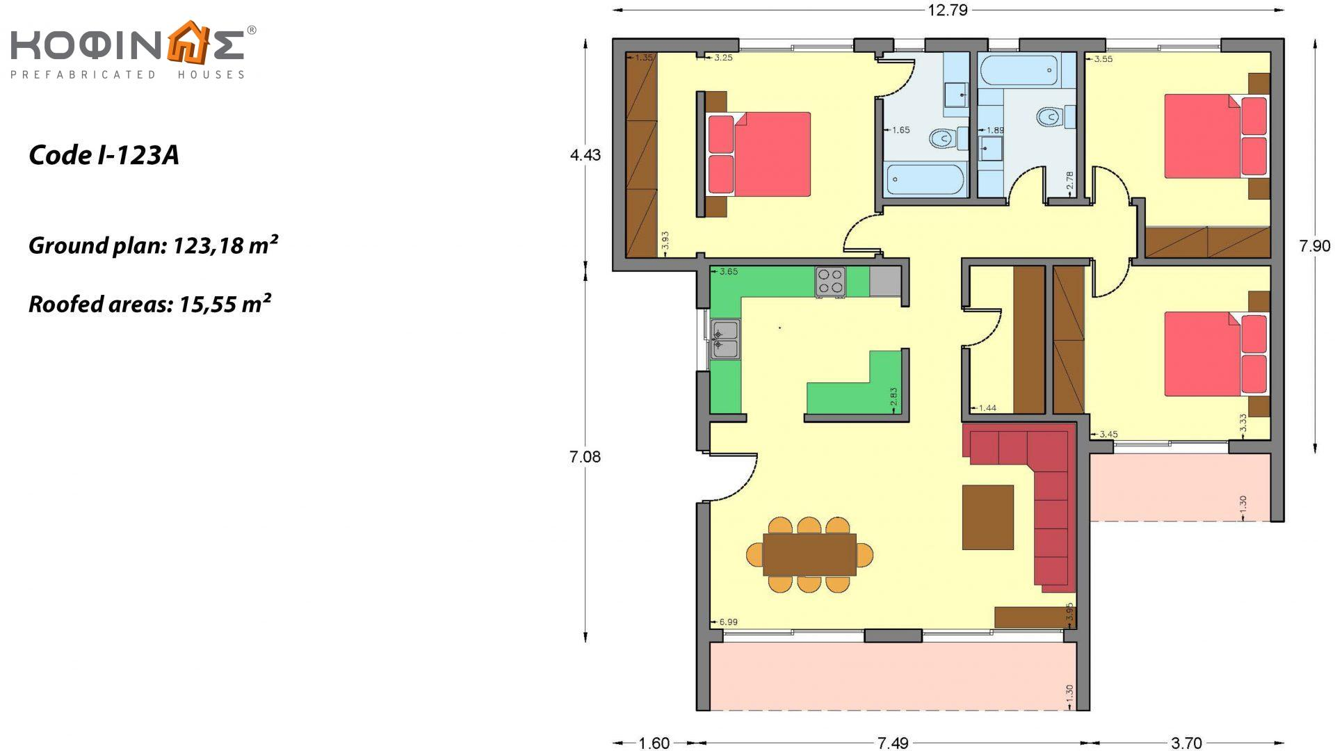 1-story house I-123A, total surface of 123,18 m², roofed areas 15,55 m²