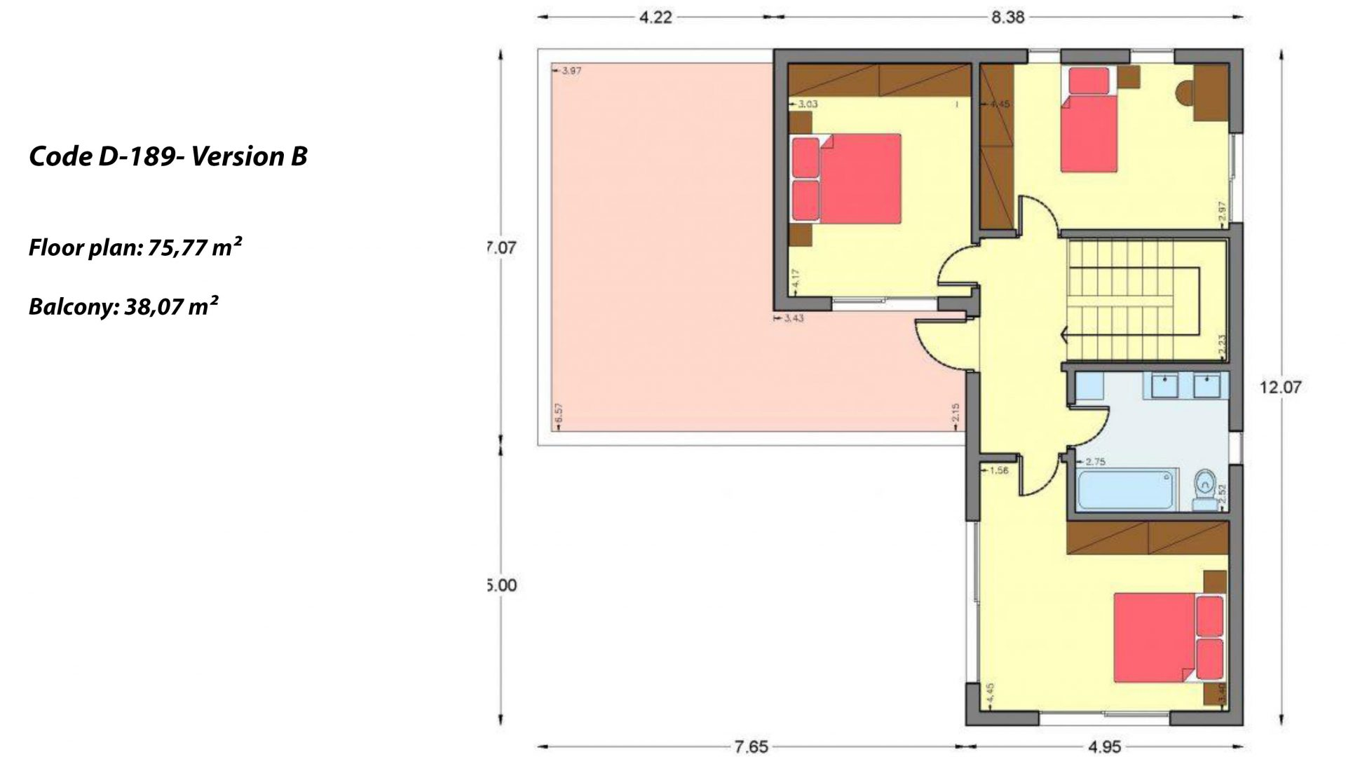 2-story house D-189, with a total area of 189.61 sq.m. ,roofed areas 38.90 m²,balconies 38.07 m²