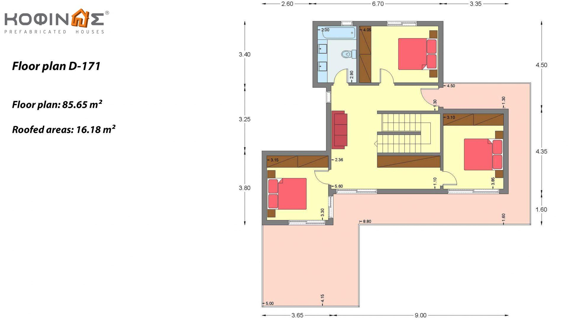 Two-story house D-171, with a total area of 171.21 sq.m.