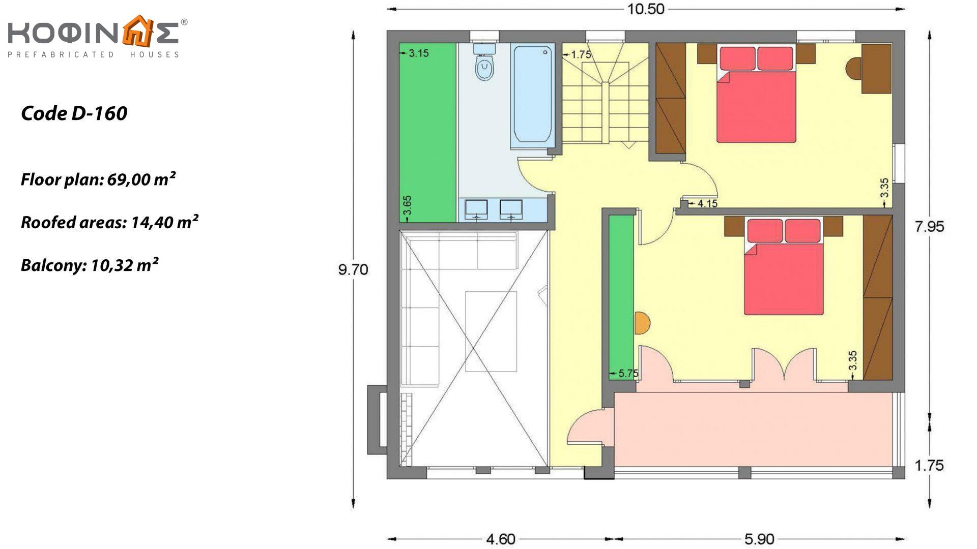 2-story house D-160, total surface 160.52 m² ,roofed areas 24.72 m²,balconies 10.32 m²