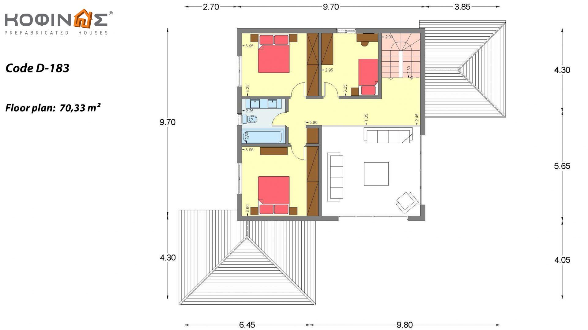 2-story house D 183, total area 183.34 m²., +garage 26.11 m²(= 209,45 m²),  covered areas 42.84 m², and balcony (case B) 16.56 m²