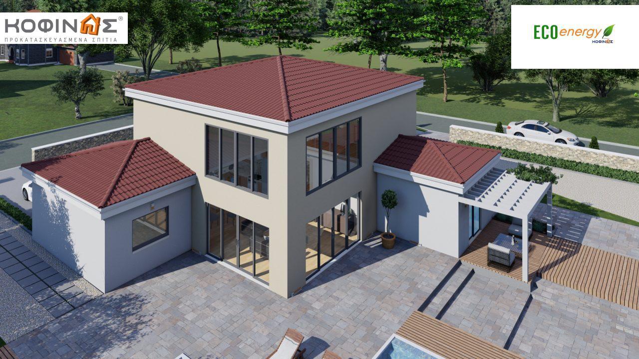Διώροφη κατοικία D 209, συνολικής επιφάνειας 209,58 τ.μ., στεγασμένοι χώροι 42,84 τ.μ., και μπαλκόνι (περίπτωση Β) 16.56 τ.μ.3