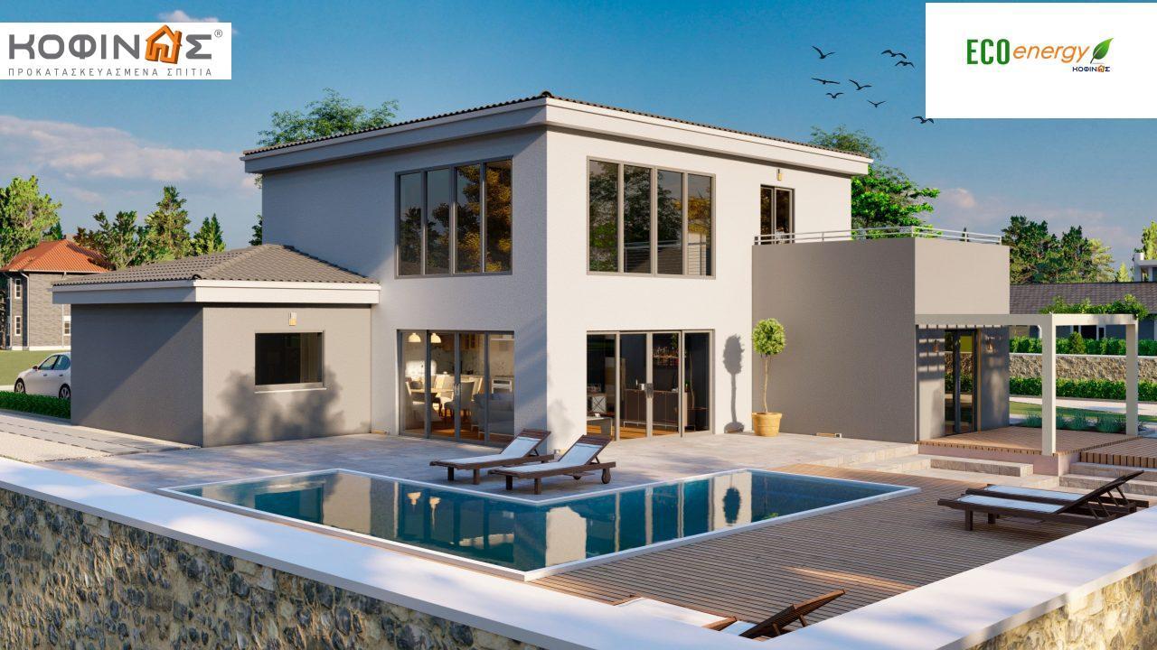Διώροφη κατοικία D 183, συνολικής επιφάνειας 183,34 τ.μ.,+Γκαράζ 26,11 m²(=209,45 m²), στεγασμένοι χώροι 42,84 τ.μ., και μπαλκόνι (περίπτωση Β) 16.56 τ.μ. featured image