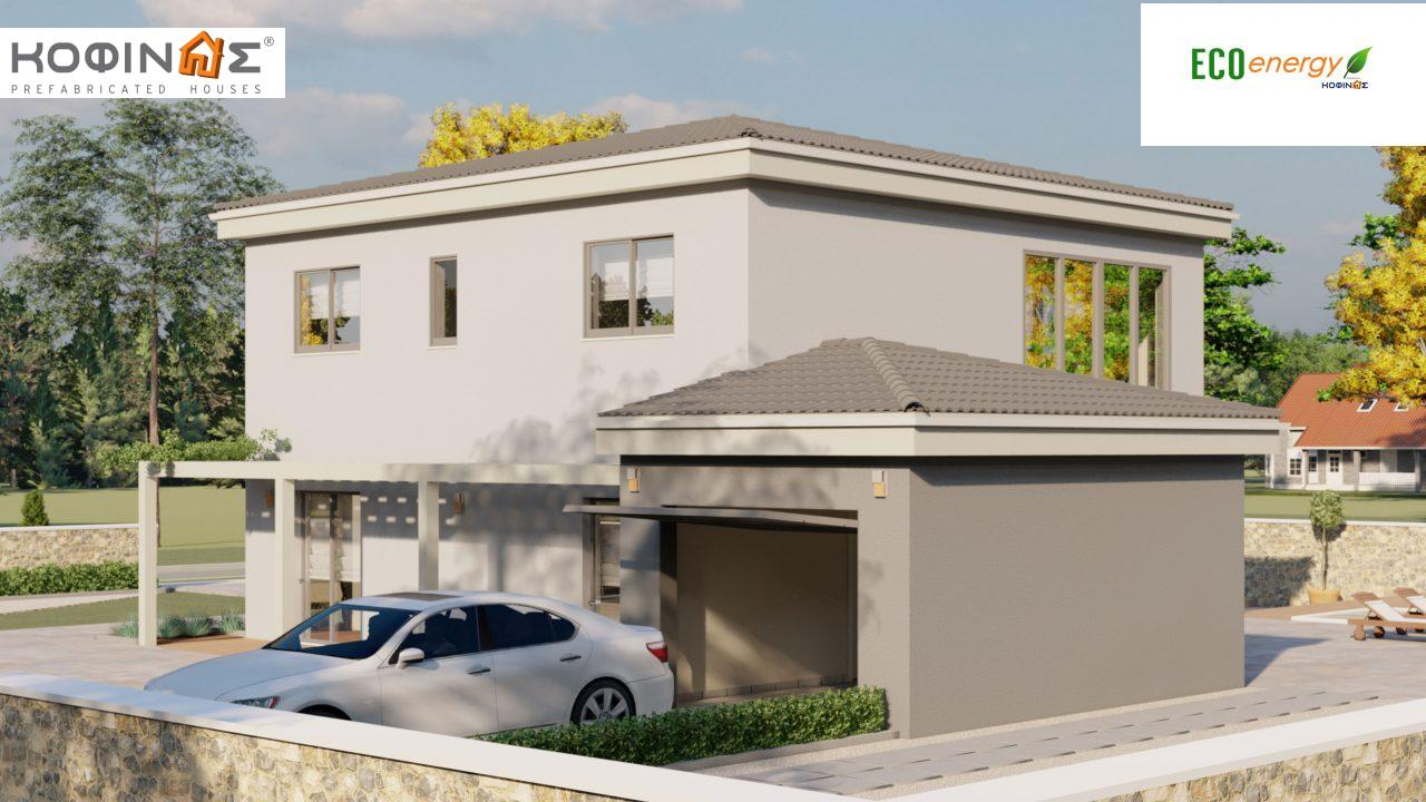 2-story house D 183, total area 183.34 m²., +garage 26.11 m²(= 209,45 m²),  covered areas 42.84 m², and balcony (case B) 16.56 m²2