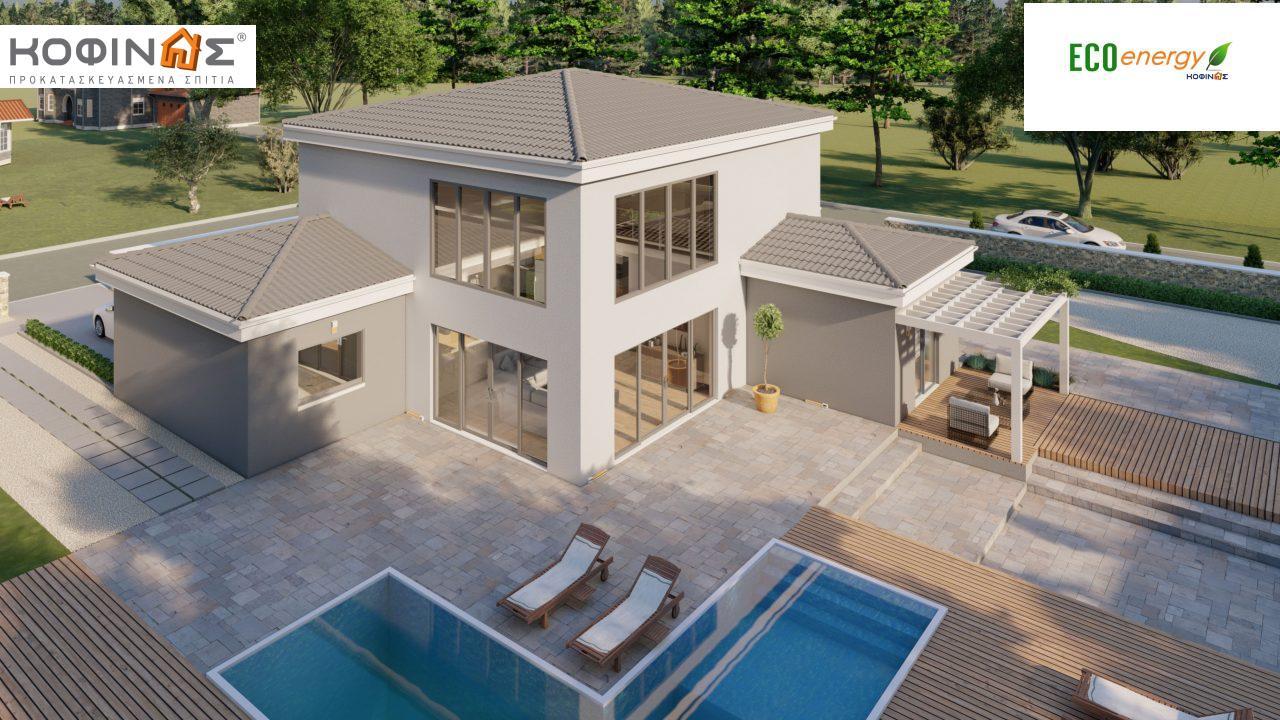 Διώροφη κατοικία D 183, συνολικής επιφάνειας 183,34 τ.μ.,+Γκαράζ 26,11 m²(=209,45 m²), στεγασμένοι χώροι 42,84 τ.μ., και μπαλκόνι (περίπτωση Β) 16.56 τ.μ.3