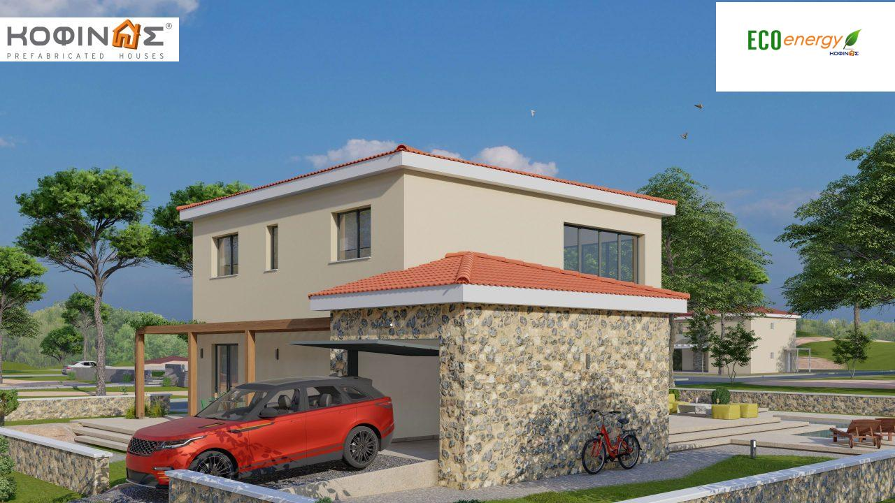 2-story house D 183, total area 183.34 m²., +garage 26.11 m²(= 209,45 m²),  covered areas 45.02 m², and balcony (case B) 16.56 m²9