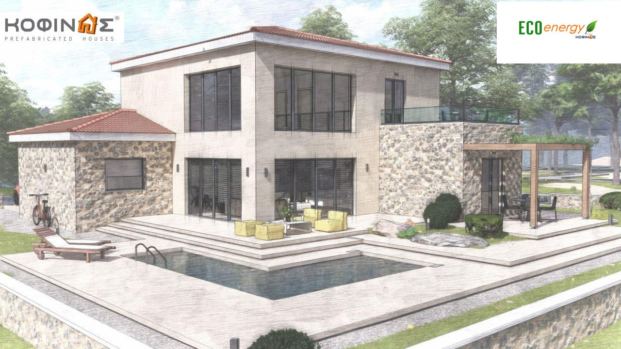 2-story house D 183, total area 183.34 m²., +garage 26.11 m²(= 209,45 m²),  covered areas 45.02 m², and balcony (case B) 16.56 m²11