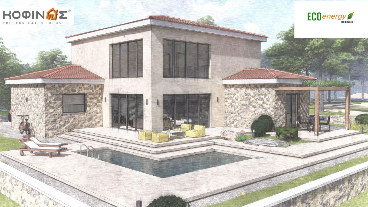 2-story house D 183, total area 183.34 m²., +garage 26.11 m²(= 209,45 m²),  covered areas 45.02 m², and balcony (case B) 16.56 m²12