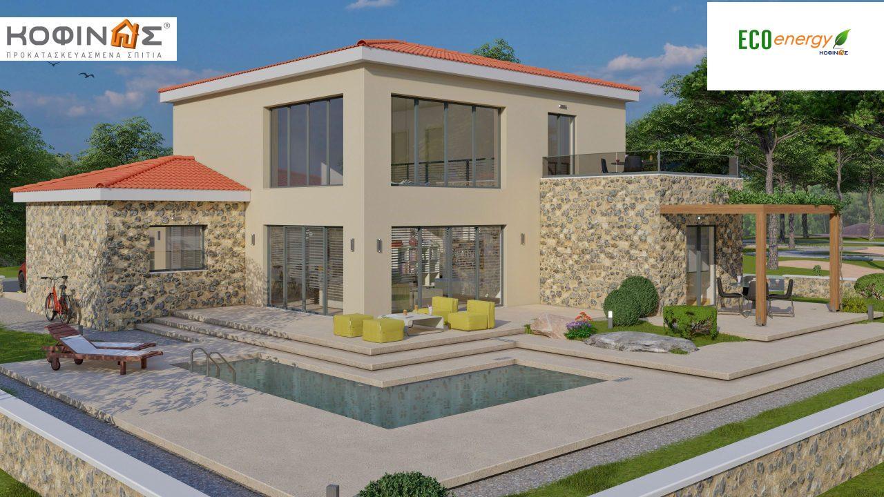 Διώροφη κατοικία D 183, συνολικής επιφάνειας 183,34 τ.μ.,+Γκαράζ 26,11 m²(=209,45 m²), στεγασμένοι χώροι 45,02 τ.μ., και μπαλκόνι (περίπτωση Β) 16.56 τ.μ. featured image