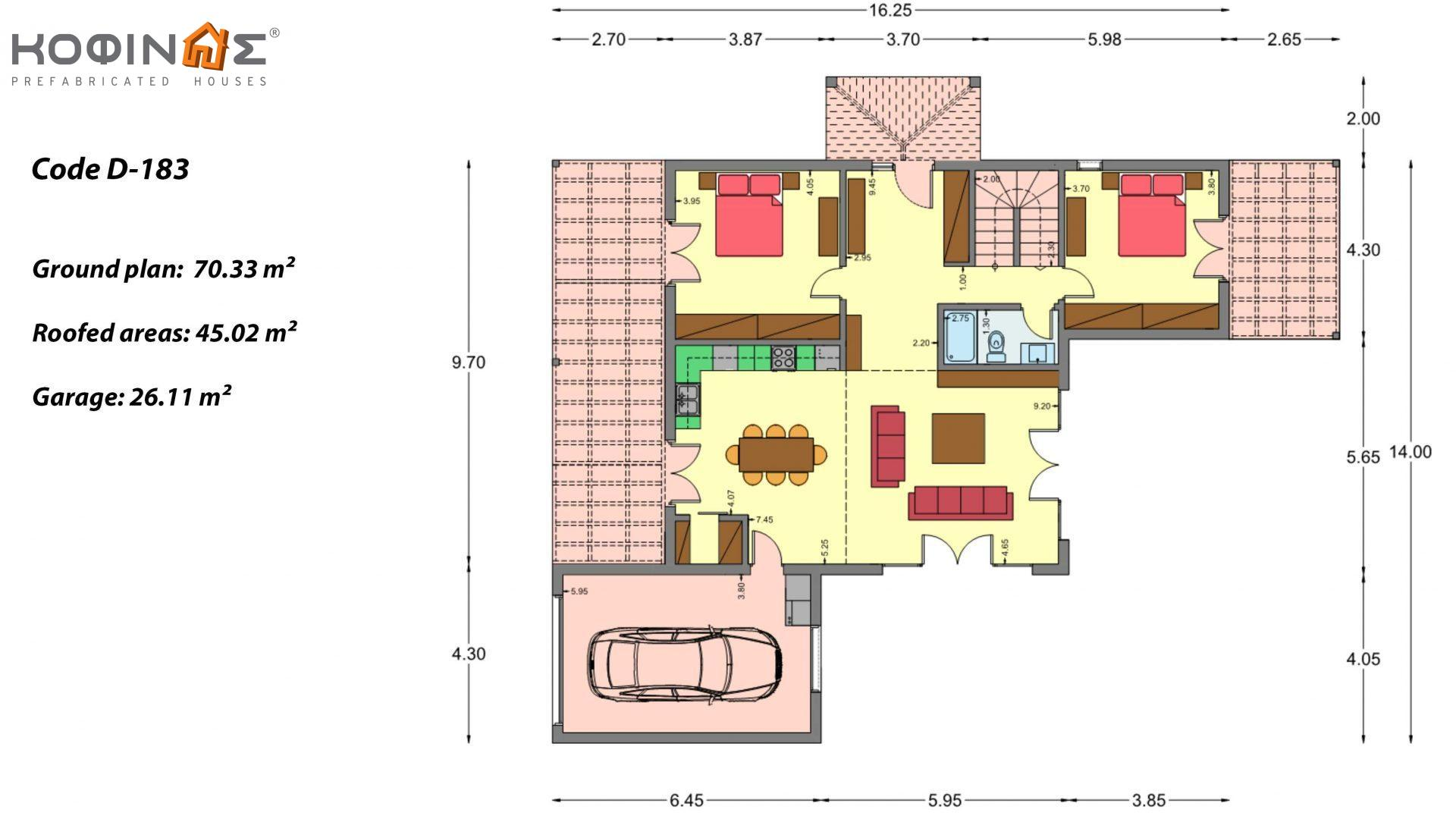2-story house D 183, total area 183.34 m²., +garage 26.11 m²(= 209,45 m²),  covered areas 45.02 m², and balcony (case B) 16.56 m²