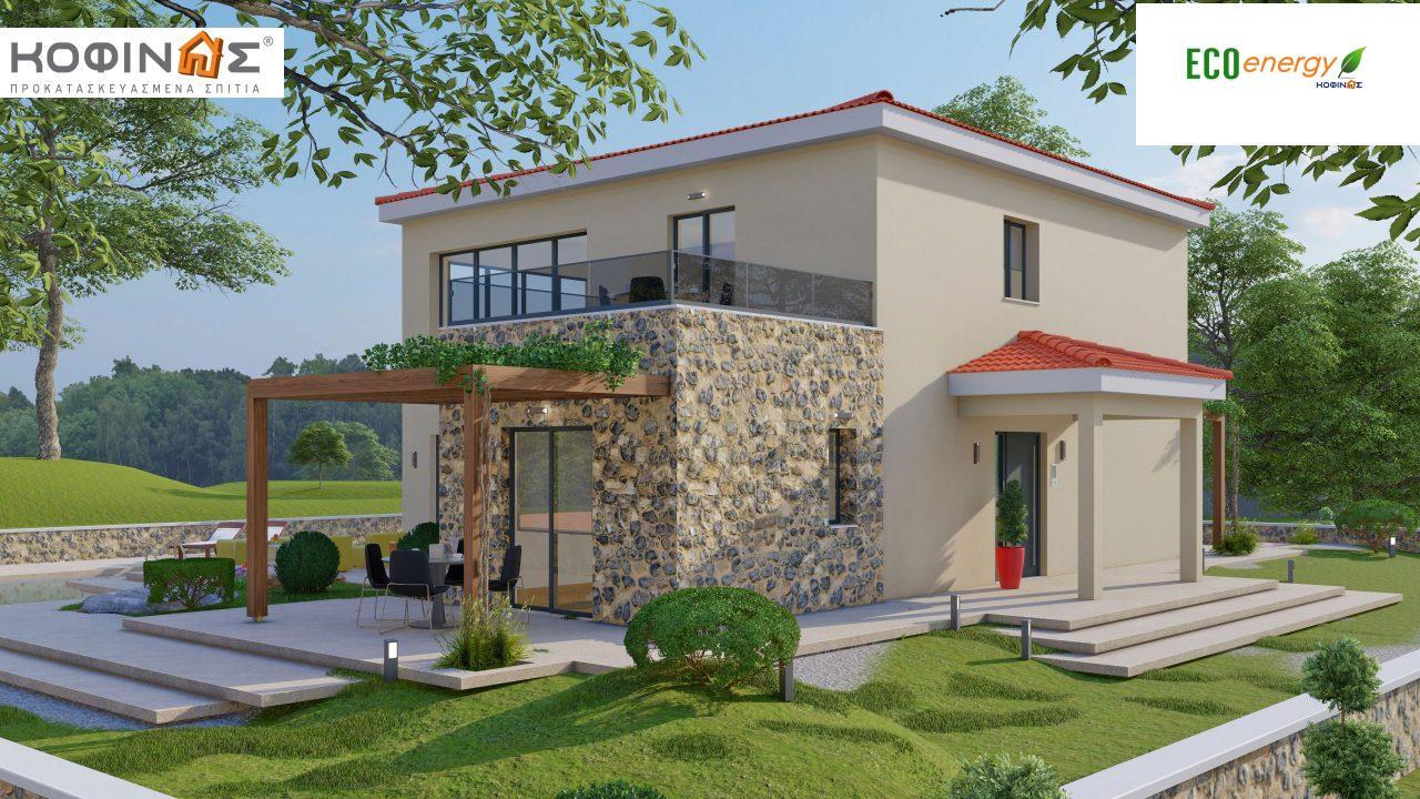 Διώροφη κατοικία D 183, συνολικής επιφάνειας 183,34 τ.μ.,+Γκαράζ 26,11 m²(=209,45 m²), στεγασμένοι χώροι 45,02 τ.μ., και μπαλκόνι (περίπτωση Β) 16.56 τ.μ.0