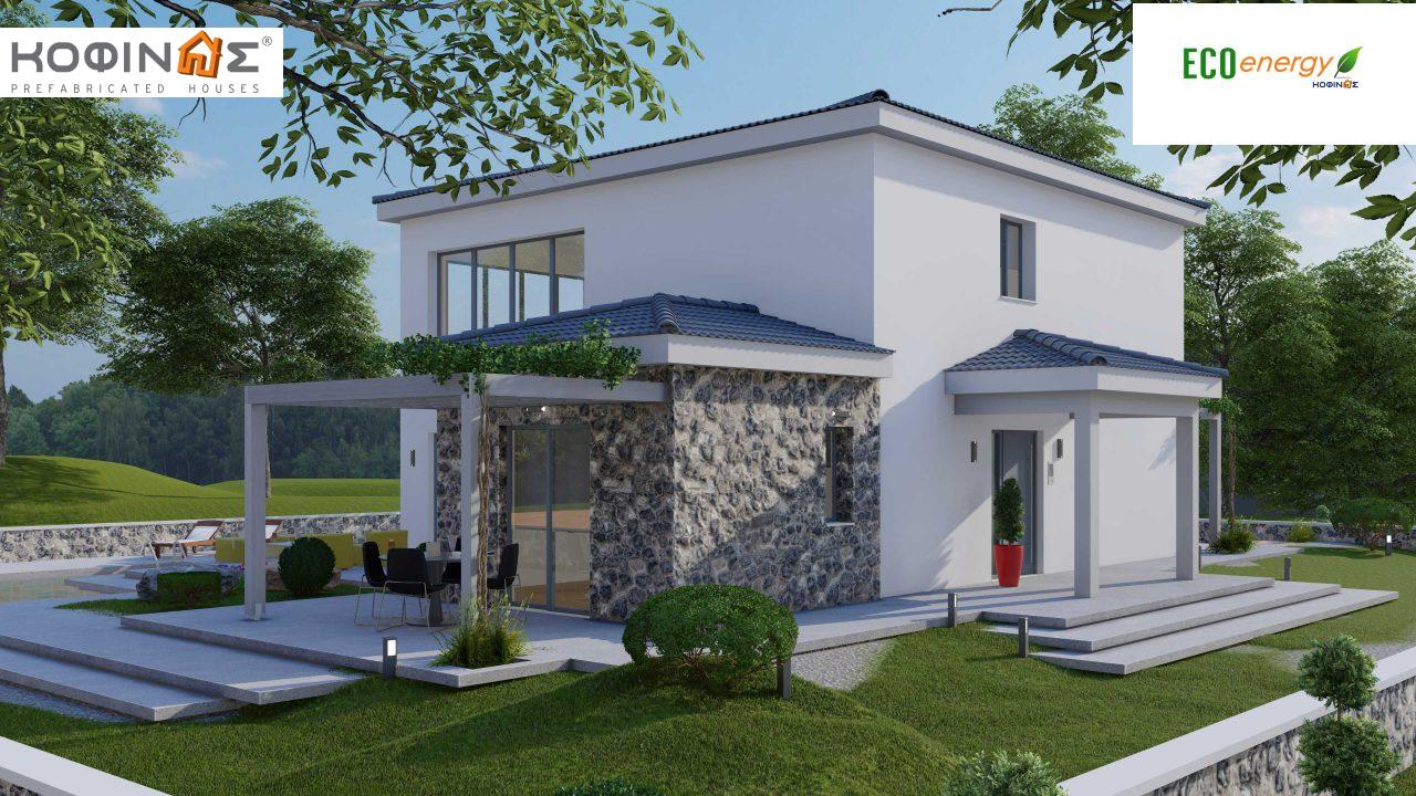 2-story house D 183, total area 183.34 m²., +garage 26.11 m²(= 209,45 m²),  covered areas 45.02 m², and balcony (case B) 16.56 m²0
