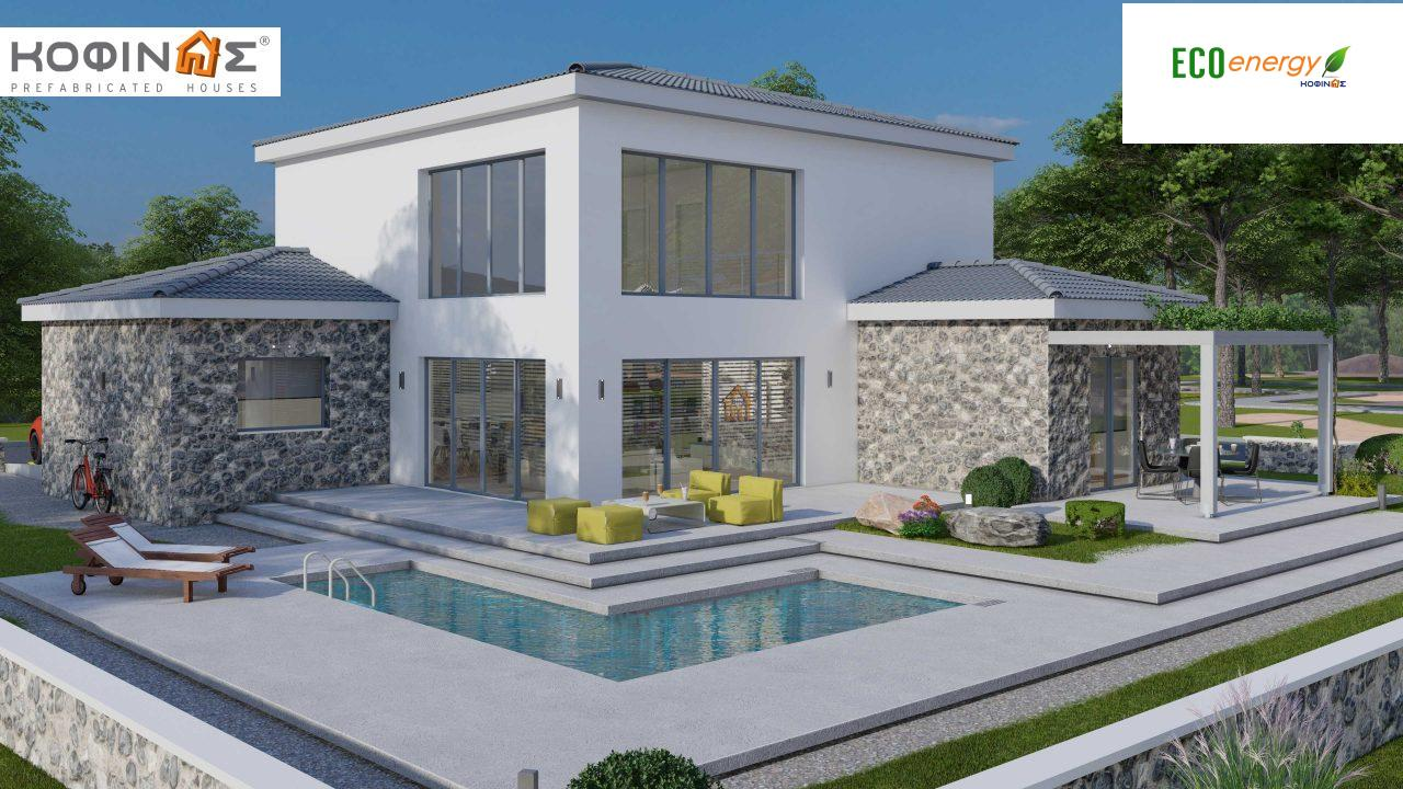 2-story house D 183, total area 183.34 m²., +garage 26.11 m²(= 209,45 m²),  covered areas 45.02 m², and balcony (case B) 16.56 m² featured image