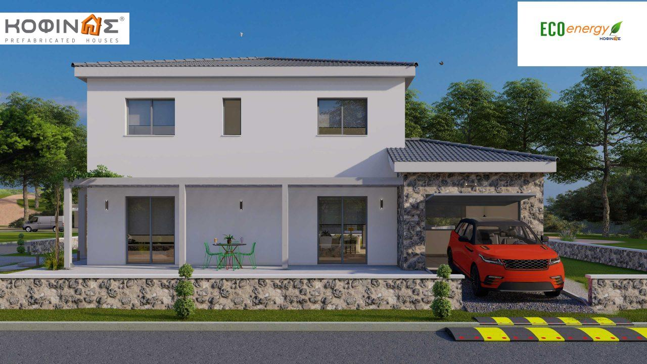2-story house D 183, total area 183.34 m²., +garage 26.11 m²(= 209,45 m²),  covered areas 45.02 m², and balcony (case B) 16.56 m²2