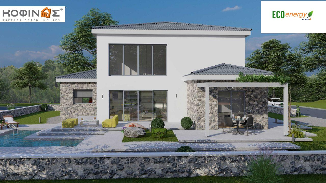 2-story house D 183, total area 183.34 m²., +garage 26.11 m²(= 209,45 m²),  covered areas 45.02 m², and balcony (case B) 16.56 m²5