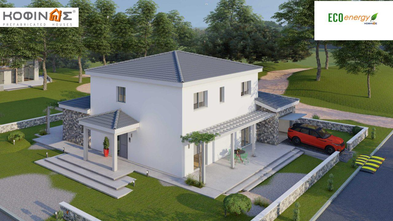 2-story house D 183, total area 183.34 m²., +garage 26.11 m²(= 209,45 m²),  covered areas 45.02 m², and balcony (case B) 16.56 m²4
