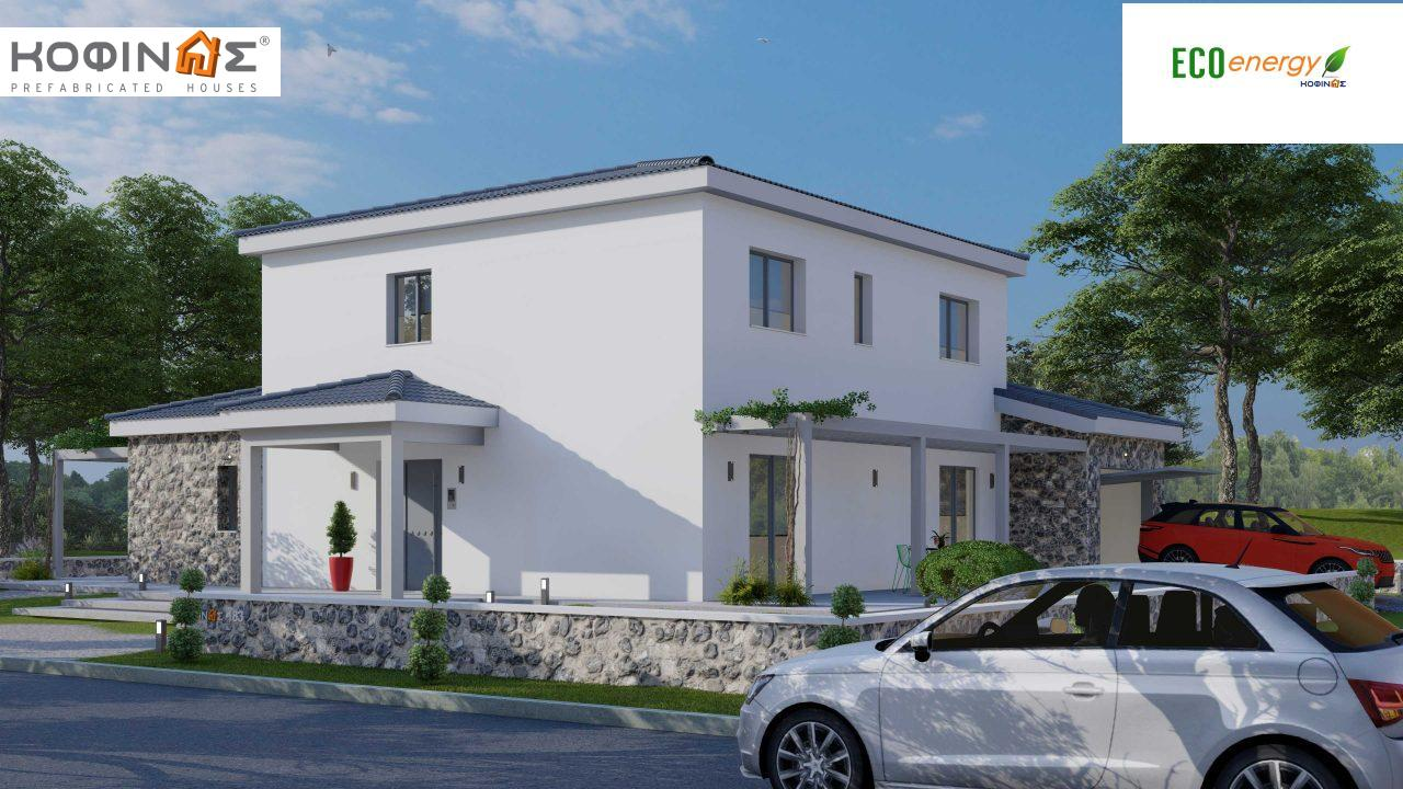 2-story house D 183, total area 183.34 m²., +garage 26.11 m²(= 209,45 m²),  covered areas 45.02 m², and balcony (case B) 16.56 m²3