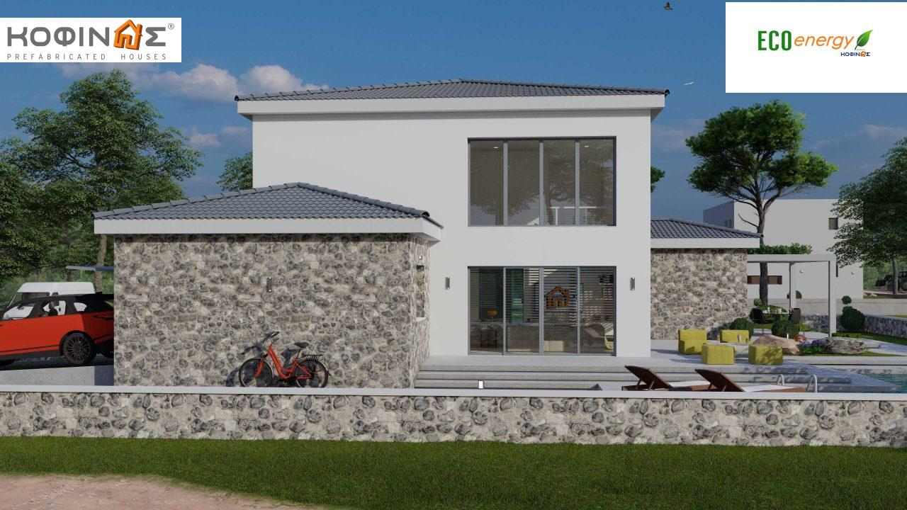 2-story house D 183, total area 183.34 m²., +garage 26.11 m²(= 209,45 m²),  covered areas 45.02 m², and balcony (case B) 16.56 m²1
