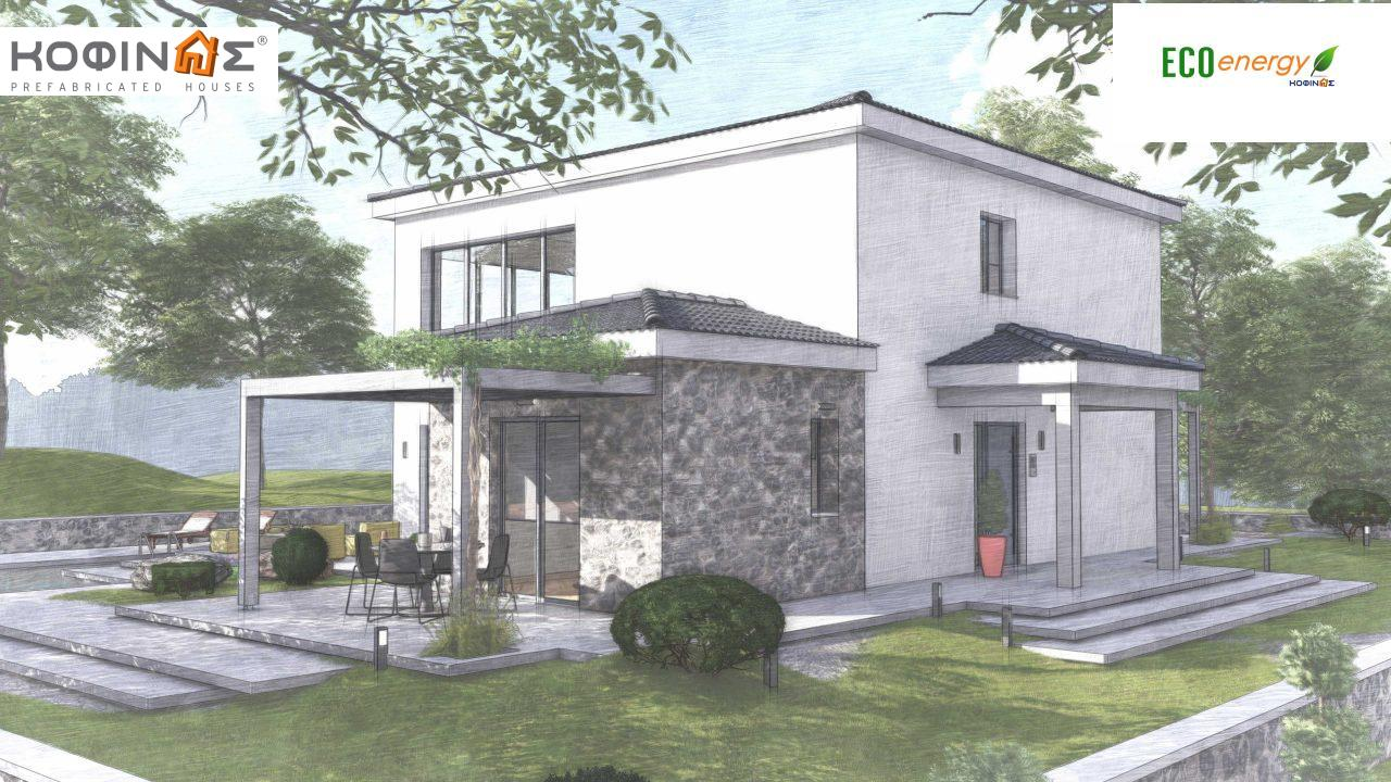 2-story house D 183, total area 183.34 m²., +garage 26.11 m²(= 209,45 m²),  covered areas 45.02 m², and balcony (case B) 16.56 m²6