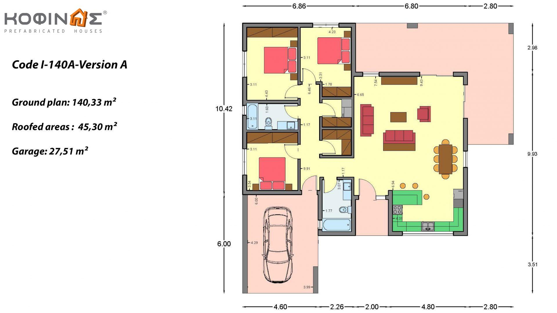 1-story house Ι-140Α, total surface of 140,33 m², +Garage 27.51 m²(=167,84 m²), roofed areas 45,30 m² and 44,71 m² for version Β