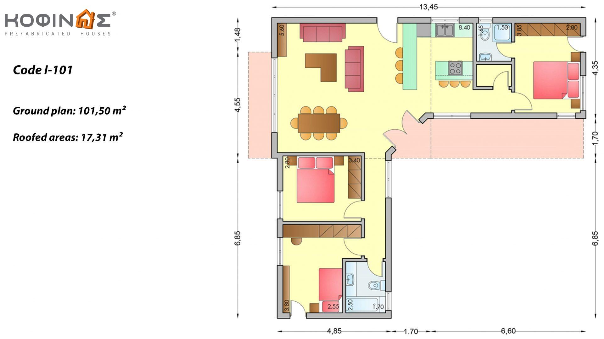 1-story house I-101, total surface of 101,50 m², roofed areas 17,31 m²